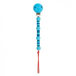 Accroche tétine perles bleues