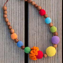 Bright Rainbow Necklace, Apple Wood Kangaroocare