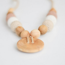 Cream & beige Button Necklace, Juniper Wood Kangaroocare
