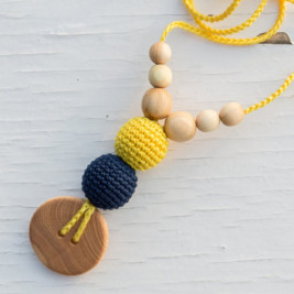 Babywearing Necklace - Yellow & Navy, Juniper Wood Kangaroocare