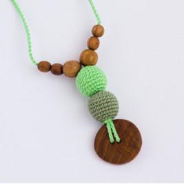 Best Babywearing Necklace in Greens, Oak Wood