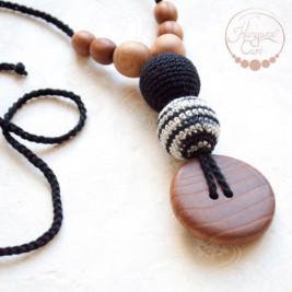 Best Babywearing Necklace in Black & Zebra, Oak Wood