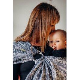 Ringsling, Jacquard Weave (100% cotton) - with gathered shoulder - WILD WINE GREY & WHITE