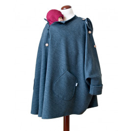 Aïska Mam Poncho Laine Dark Heather Grey