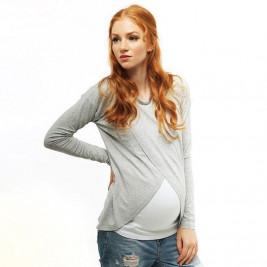 Love And Carry Haut de grossesse et allaitement gris clair et blanc