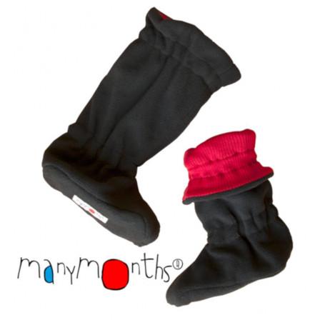 Manymonths chaussons de portage ajustables laine mérinos/ polaire Rouge Coquelicot