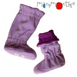 Manymonths chaussons de portage laine mérinos/ polaire Lotus Violet/ Rose