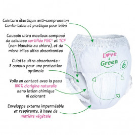 Culottes d'apprentissage Love and green taille 6 (+ 16 kg) / 16