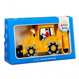 Puzzle Backhoe Yellow 1-10 wooden Lanka Kade
