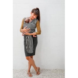 Babylonia Tricot-Slen Design Black and White Stripes - Écharpe de Portage