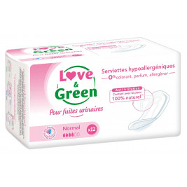 Love and Green Serviettes Incontinence Normal Hypoallergéniques x12