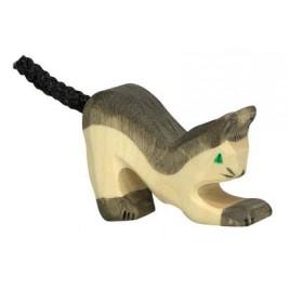 Petit chat noir en bois Holztiger
