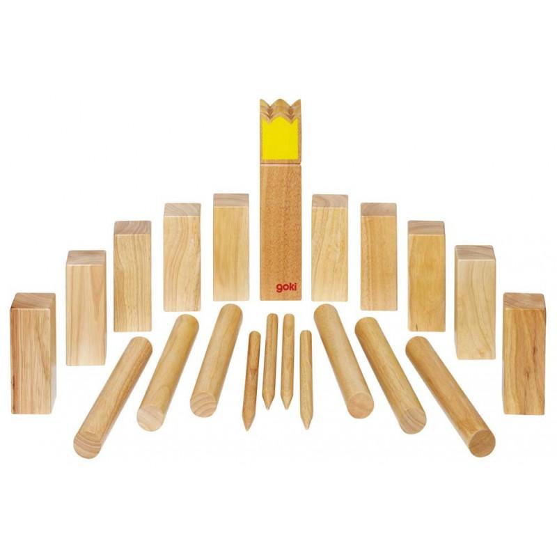 Kubb, jeu de vikings en bois grand modèle (roi jaune)  Naturiou ~ Jeu Quille Bois Suedois