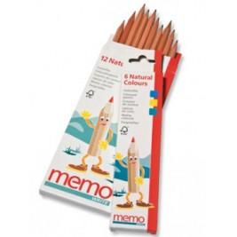 12 crayons de couleurs en cèdre naturel Memoworld