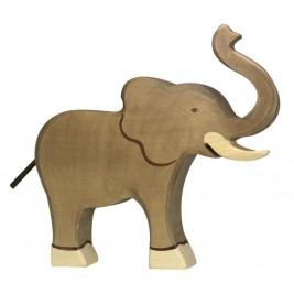 Eléphant trompe haute en bois Holztiger
