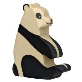 Panda assis en bois Holztiger