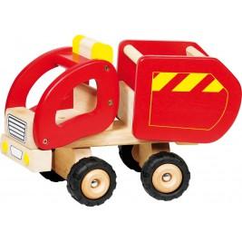 Camion-benne rouge grand modèle en bois par Goki