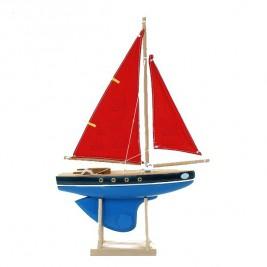 VOILIER Tirote coque bleue voile rouge Modèle 500