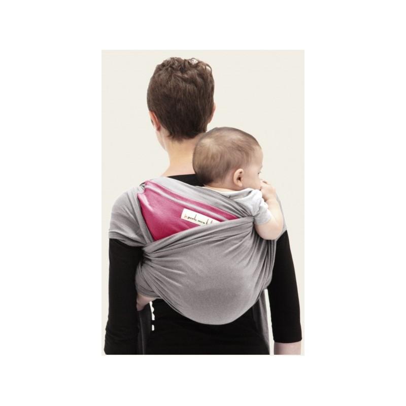 ... Facile de porter bebe dans le dos avec echarpe JPMBB Gris clair poche  fuschia ... bbadd08c334