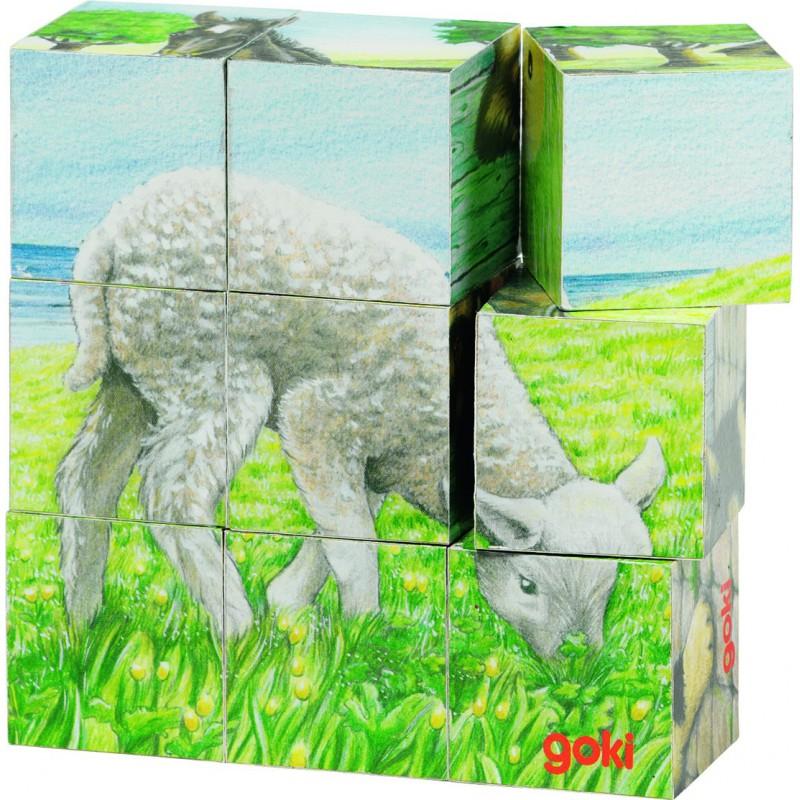 puzzle de cubes animaux de la ferme goki naturiou. Black Bedroom Furniture Sets. Home Design Ideas
