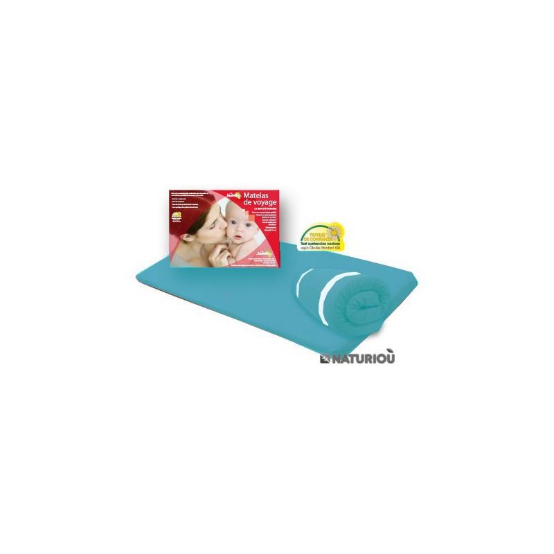 matelas de voyage roul pour lit parapluie turquoise 60x120 naturiou. Black Bedroom Furniture Sets. Home Design Ideas