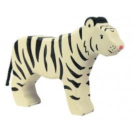 Tigre blanc debout en bois Holztiger