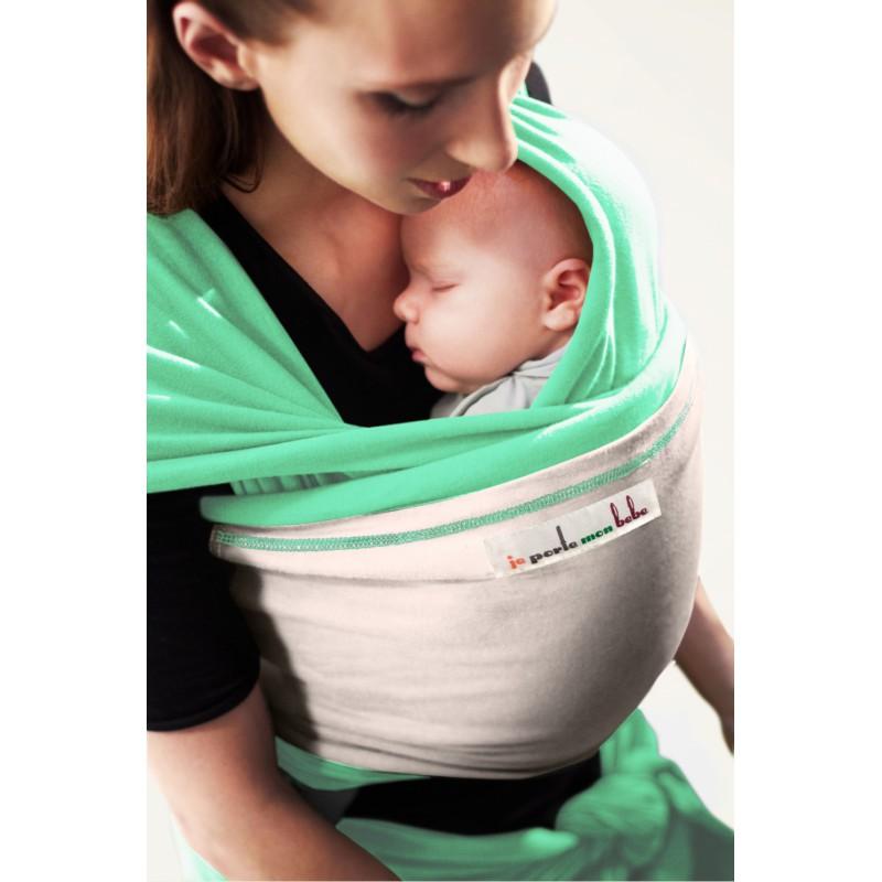 2b33ec4f3672 Echarpe Jpmbb Vert Azur poche Ecru  Echarpe Je porte mon bébé Vert Azur  poche Ecru  Echarpe de portage ...