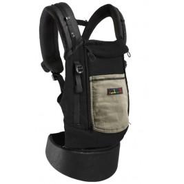 Porte-bébé PhysioCarrier JPMBB cuir artificiel Noir poche olive