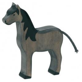 Cheval debout noir Holztiger