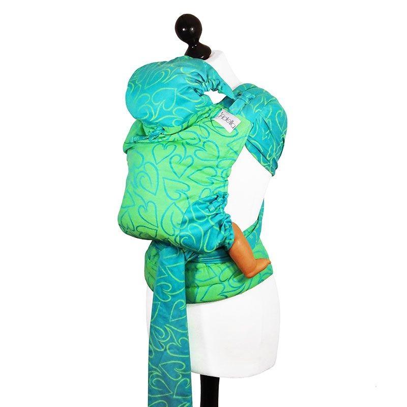 ... Porte-bébé Fidella Fly-Taï Vert et Turquoise Nouvelle taille capuche  réglable ... 2a221d9a9b0