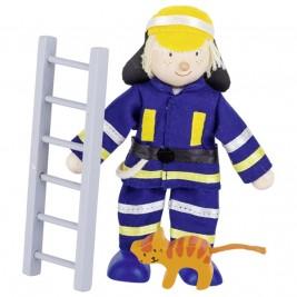 Poupée flexible Goki - Pompier sauveur de chat