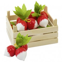 Crate of radishes in wood Goki