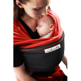 The original JPMBB Baby Wrap Scarlett Red, pocket Charcoal Black