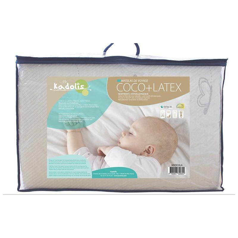 matelas de voyage bébé coco+latex kadolis 60x120 cm