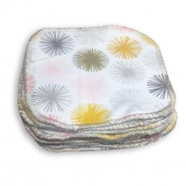 Lingettes lavables Naturiou en bambou et coton bio fleurs soleil