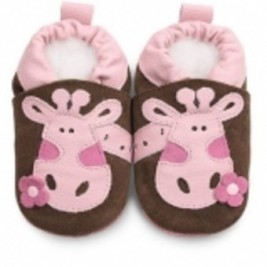 Shooshoos girafes roses chocolat, chaussons en cuir pour bébé