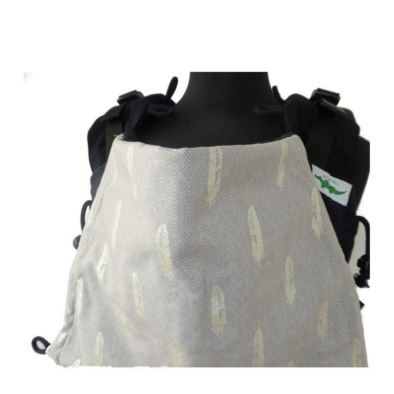 Porte-bébé Buzzidil versatil Babysize Silver Feathers On Black ... 426579c653e