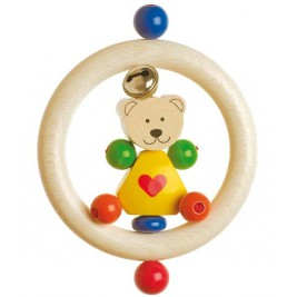 Ring wooden teddy bear small heart Heimess