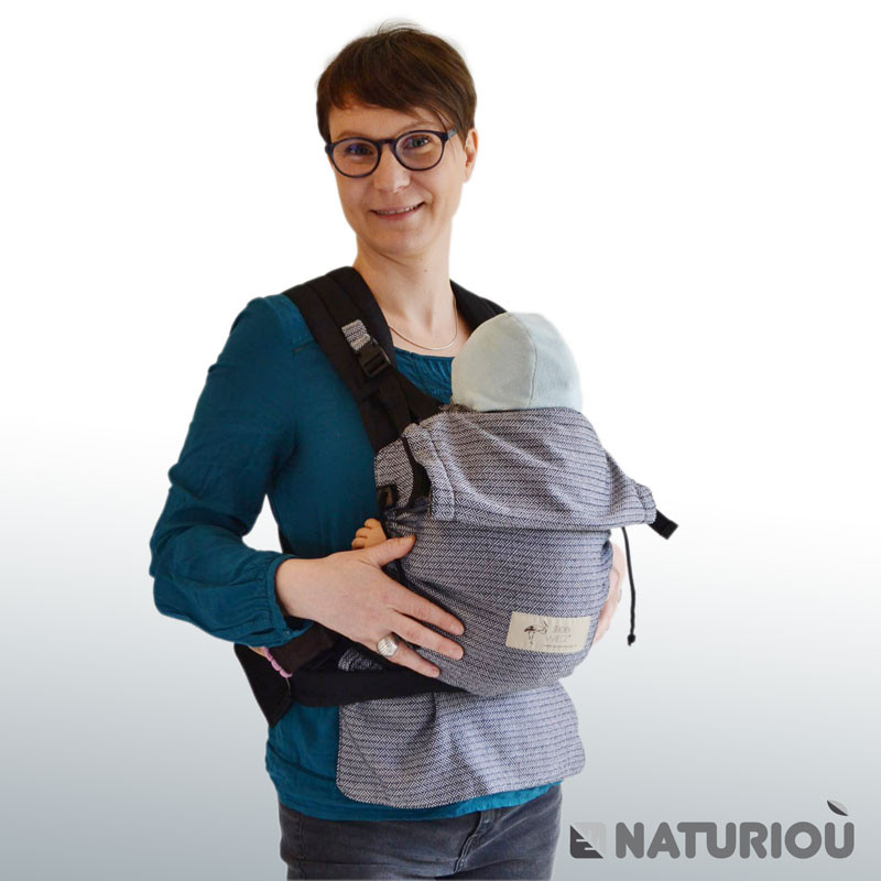 c20138a622a3 Storchenwiege Baby carrier Black - White - Naturiou