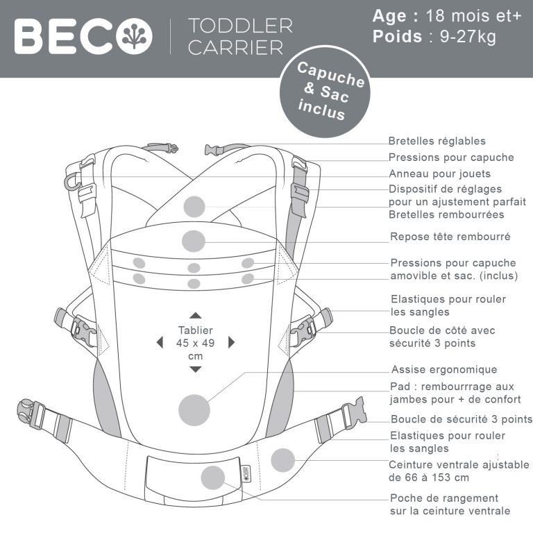 caractéristiques porte-bébé Beco Toddler Scribble