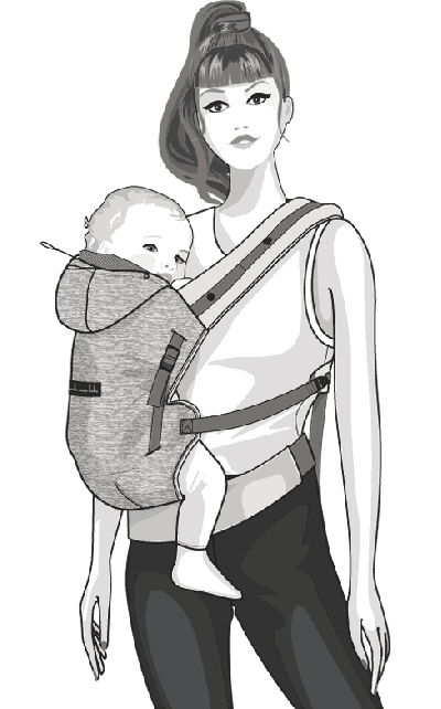 Hoodiecarrier je porte mon bébé portage sur le coté et allaitement.