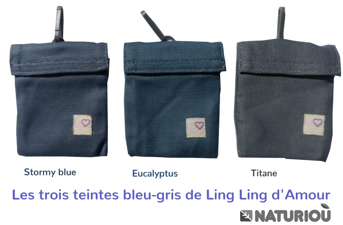 Stormy blue en comparaison avec le titane et l'eucalyptus
