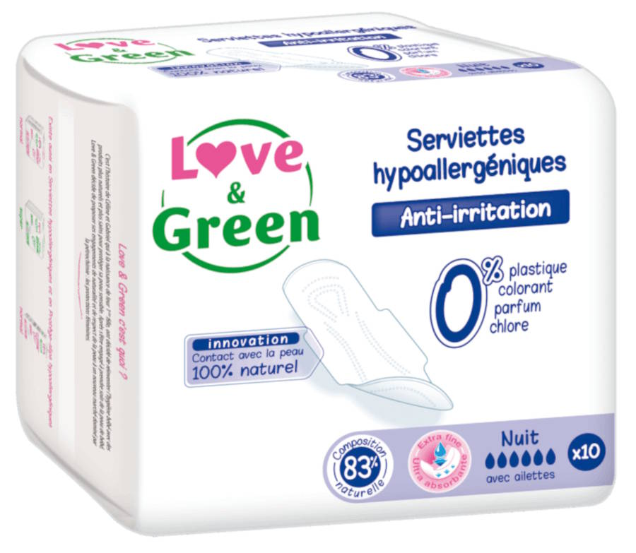serviettes hygiéniques nuit love and green