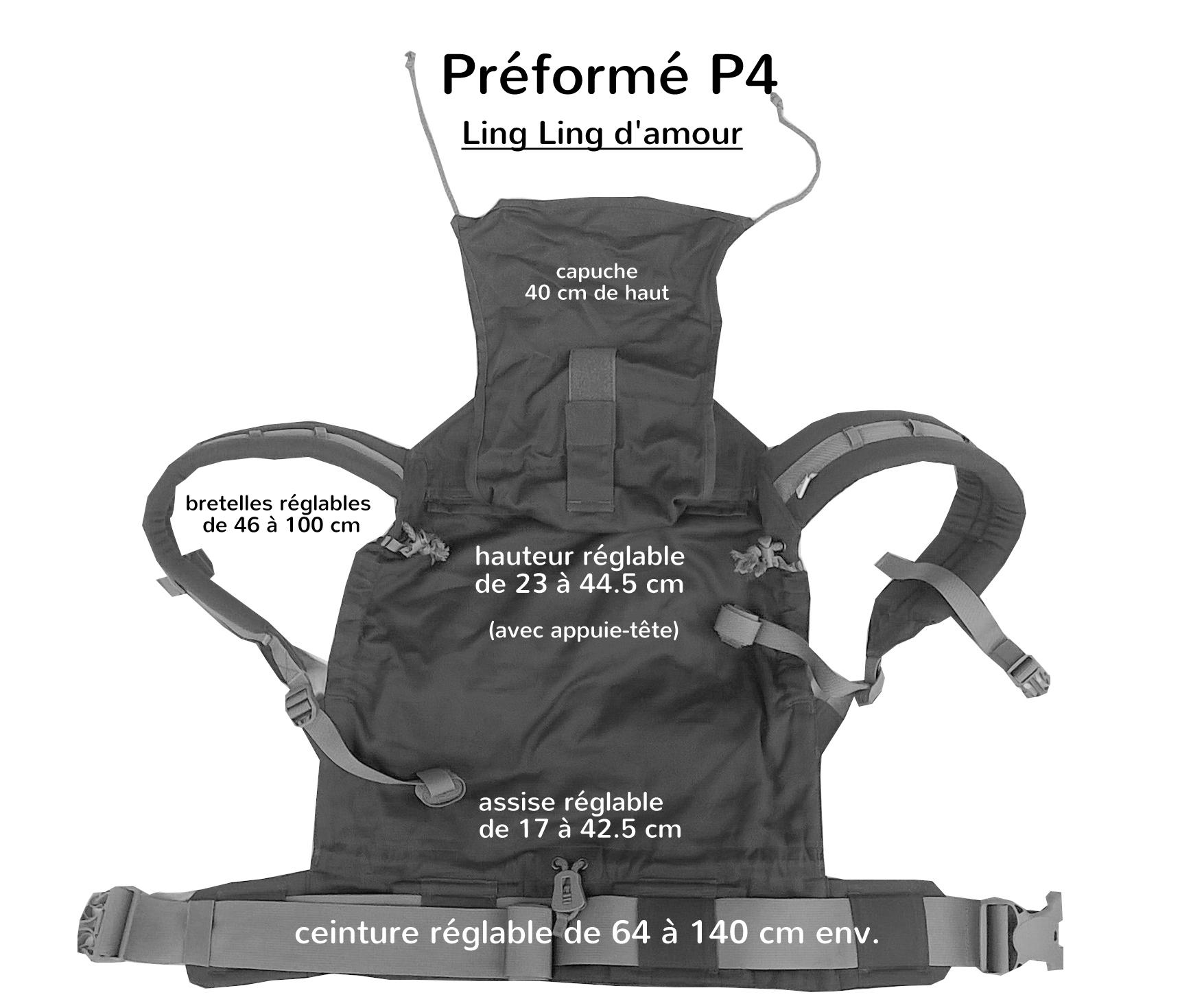 Porte-bébé physiologique P4 LLA, dimensions